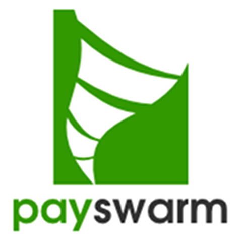 PaySwarm logo - a blocky, green tornado on a white background